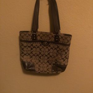 Coach Brown and Tan Double Pocketed Tote